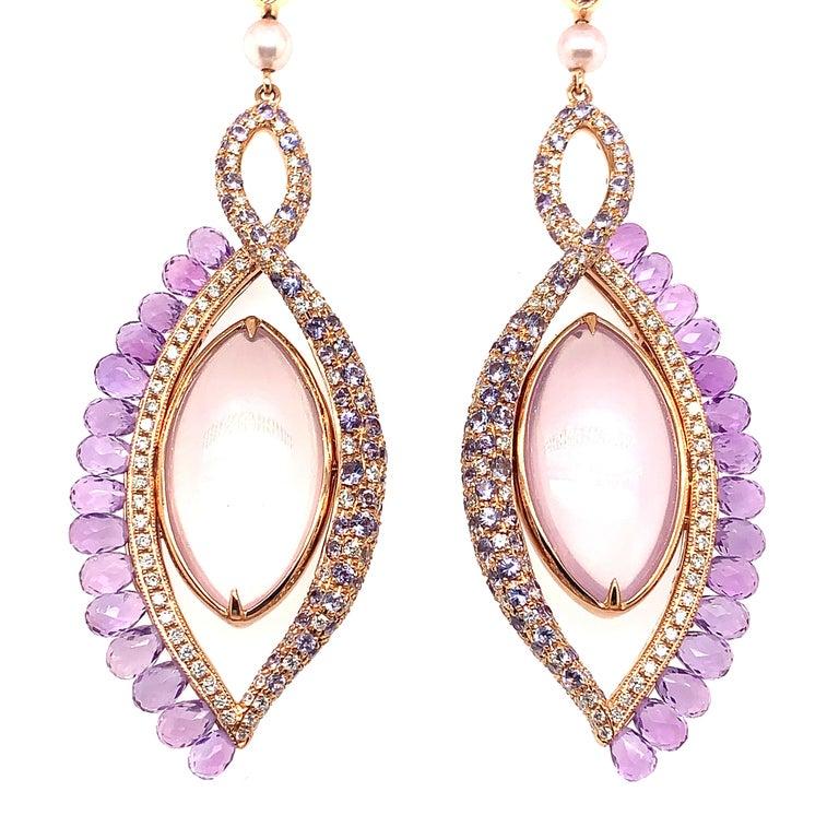 Modern 360° Double Sided Lavender Quartz and Rose Quartz Earring in 18 Karat Rose Gold For Sale