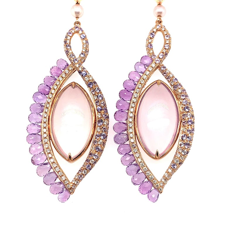 Marquise Cut 360° Double Sided Lavender Quartz and Rose Quartz Earring in 18 Karat Rose Gold For Sale