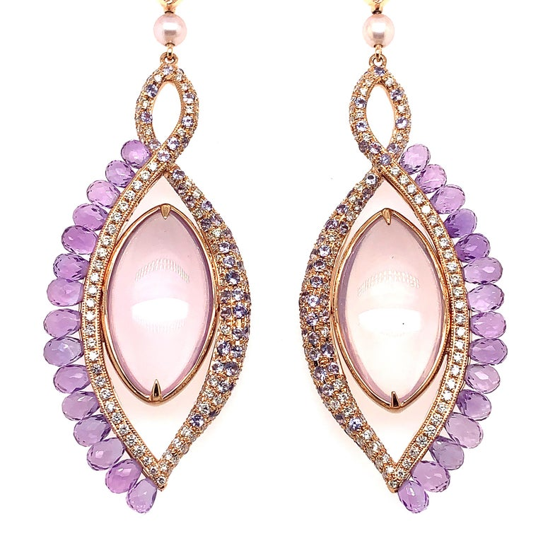 360° Double Sided Lavender Quartz and Rose Quartz Earring in 18 Karat Rose Gold In New Condition For Sale In Hong Kong, Kowloon