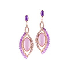 360° Double Sided Lavender Quartz and Rose Quartz Earring in 18 Karat Rose Gold
