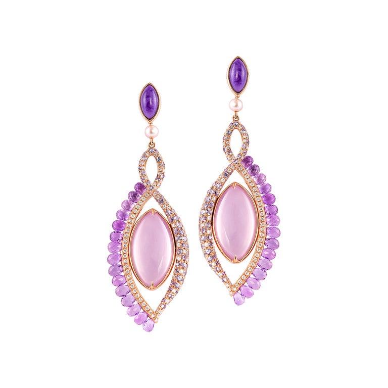 360° Double Sided Lavender Quartz and Rose Quartz Earring in 18 Karat Rose Gold For Sale