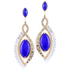 360° Double Sided Malachite and Lapis Earring in 18 Karat Rose Gold