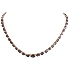 36.00 Carat Natural Sapphire 18 Karat Solid White Gold Diamond Necklace