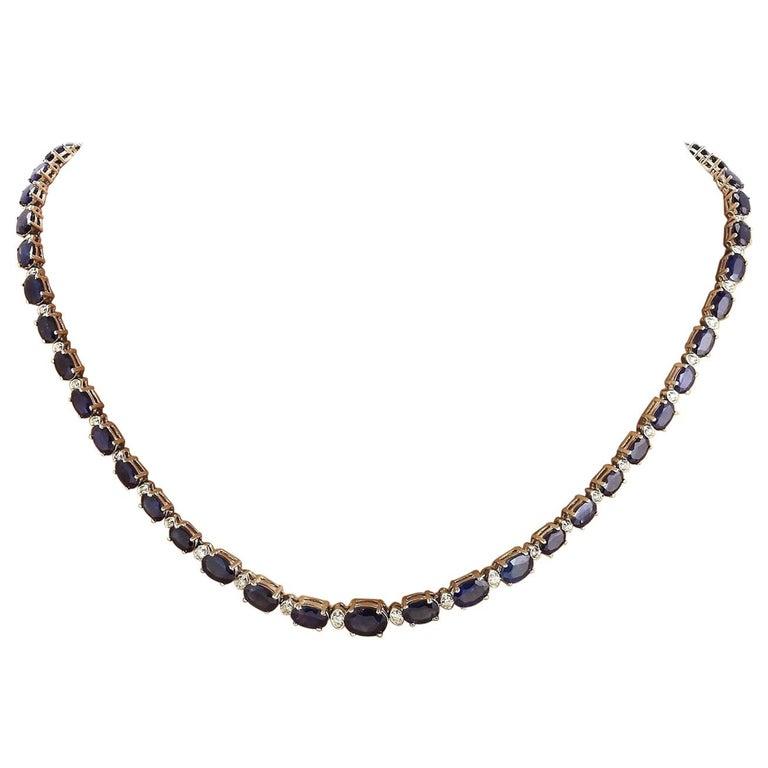 36.00 Carat Natural Sapphire 18 Karat Solid White Gold Diamond Necklace For Sale