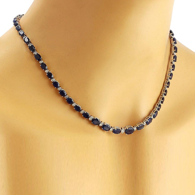 36.00 Carat Natural Sapphire 18K Solid White Gold Diamond Necklace  Item Type: Necklace  Item Style: Tennis  Item Length: 17 Inches  Material: 18K White Gold  Mainstone: Sapphire  Stone Color: Blue  Stone Weight: 34.50 Carat  Stone Shape: Oval