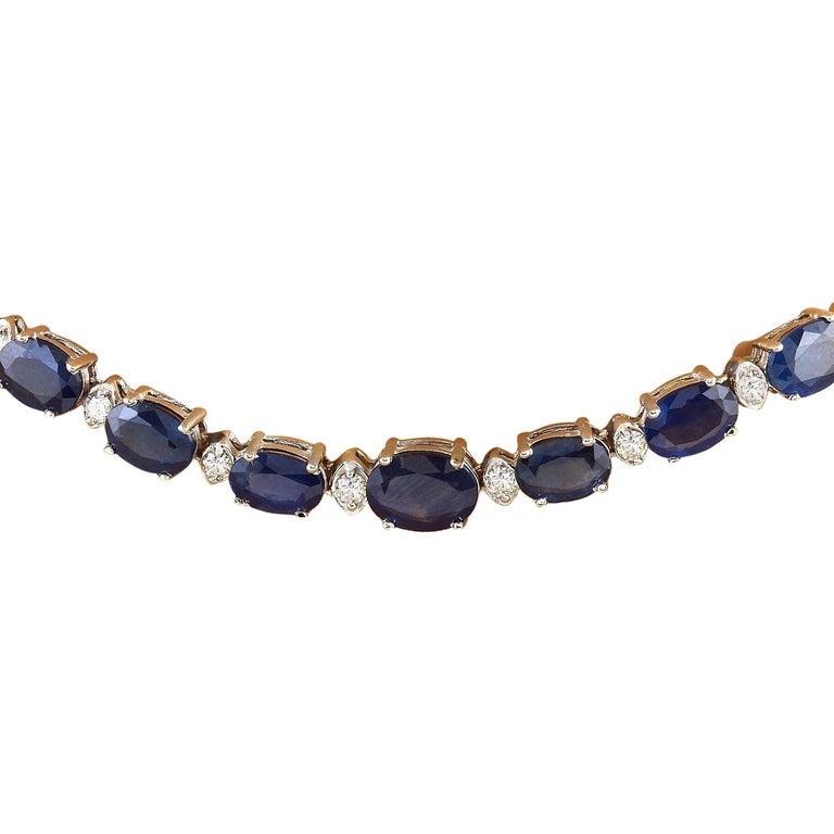 Women's 36.00 Carat Natural Sapphire 18 Karat Solid White Gold Diamond Necklace For Sale