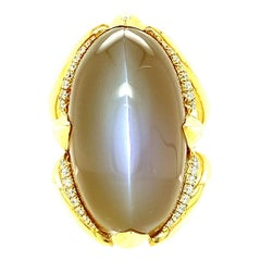 36.04 Carat Cats Eye Moonstone and Diamond Yellow Gold Dome Cocktail Ring
