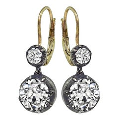 3.61 Carat Diamond Silver and Gold Earrings