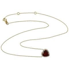 3.61 Carat Garnet Diamond 14 Karat Gold Heart Necklace