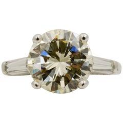 3.61 Carat GIA Diamond and Platinum Three Stone Ring
