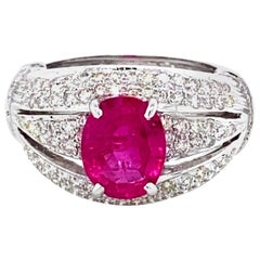 3.61 Carat GRS Certified No Heat Ruby and Diamond Ring