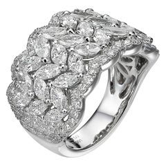 3.61 Carat Marquise Round Diamond 18 Karat White Gold Ring