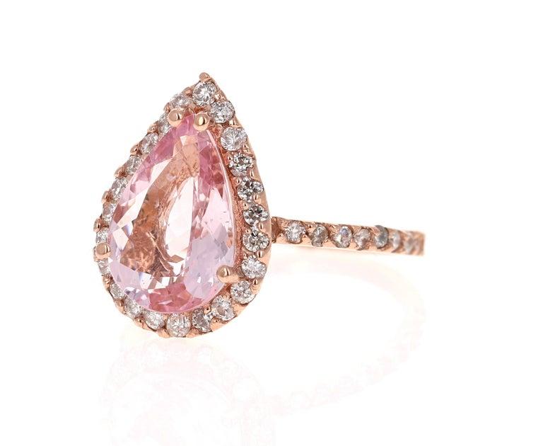 Modern 3.61 Carat Morganite Diamond 14 Karat Rose Gold Engagement Ring For Sale