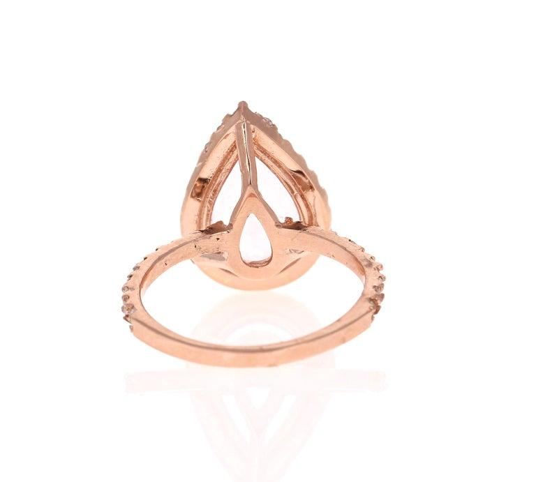 Pear Cut 3.61 Carat Morganite Diamond 14 Karat Rose Gold Engagement Ring For Sale