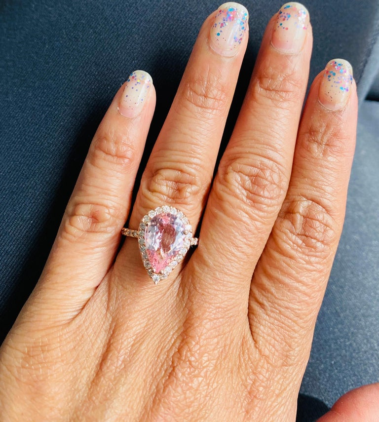 3.61 Carat Morganite Diamond 14 Karat Rose Gold Engagement Ring In New Condition For Sale In Los Angeles, CA