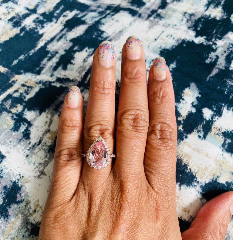 Women's 3.61 Carat Morganite Diamond 14 Karat Rose Gold Engagement Ring For Sale