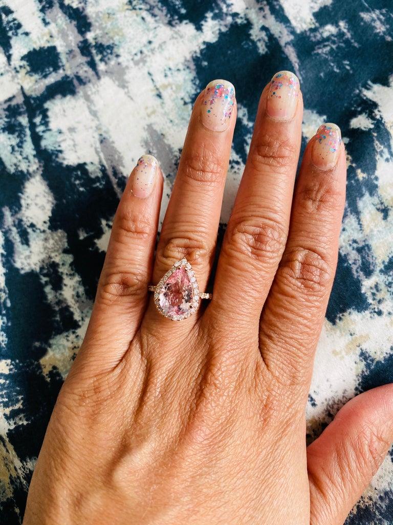 3.61 Carat Morganite Diamond 14 Karat Rose Gold Engagement Ring For Sale 1
