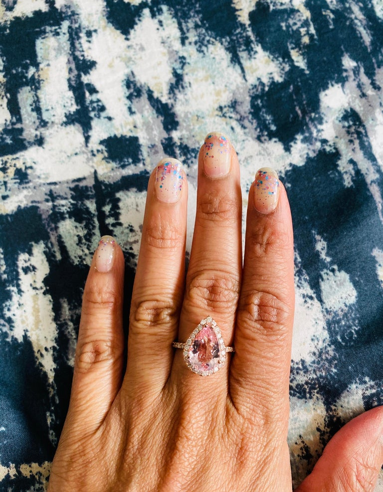 3.61 Carat Morganite Diamond 14 Karat Rose Gold Engagement Ring For Sale 2