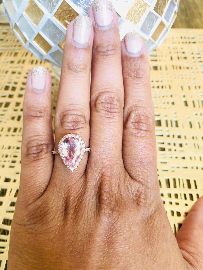 3.61 Carat Morganite Diamond 14 Karat Rose Gold Engagement Ring For Sale 3