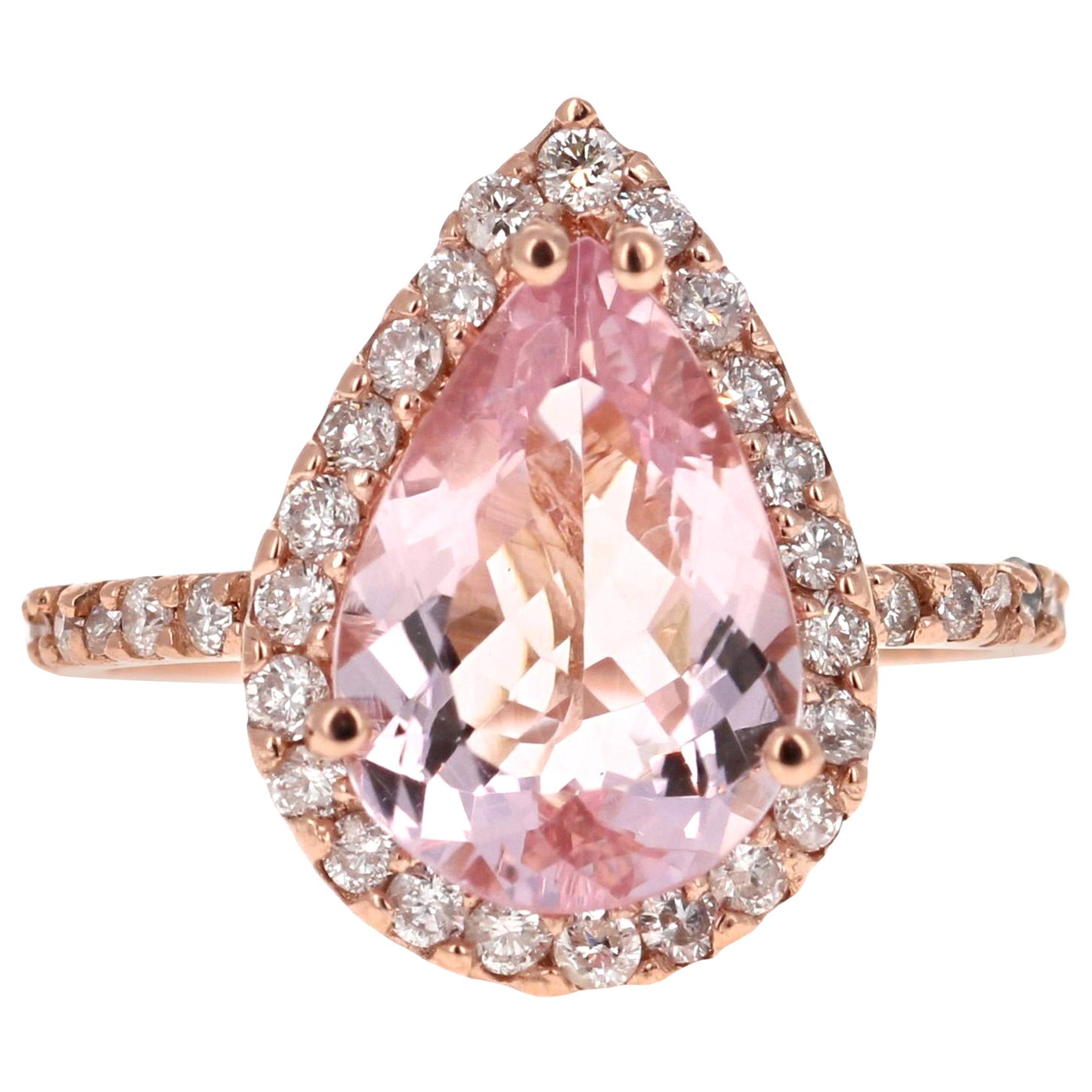 3.61 Carat Morganite Diamond 14 Karat Rose Gold Engagement Ring