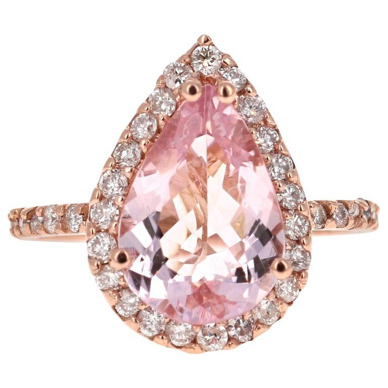 3.61 Carat Morganite Diamond 14 Karat Rose Gold Engagement Ring For Sale