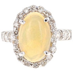 3.61 Carat Opal Diamond White Gold Statement Ring