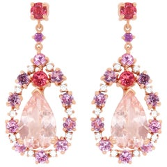 3.61 Carat Pink Morganite, Multi-Color Gemstone, and Diamond Earrings