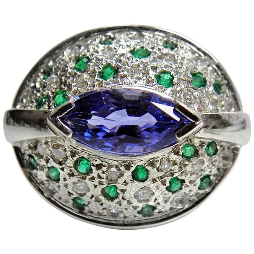 Tanzanite Emerald Diamond Contemporary Ring 18K White Gold