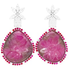 36.12 Carat Carved Multi-Color Sapphire, Ruby and Diamond Earrings
