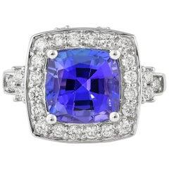 3.613 Carat Tanzanite and White Diamond Ring in 18 Karat White Gold