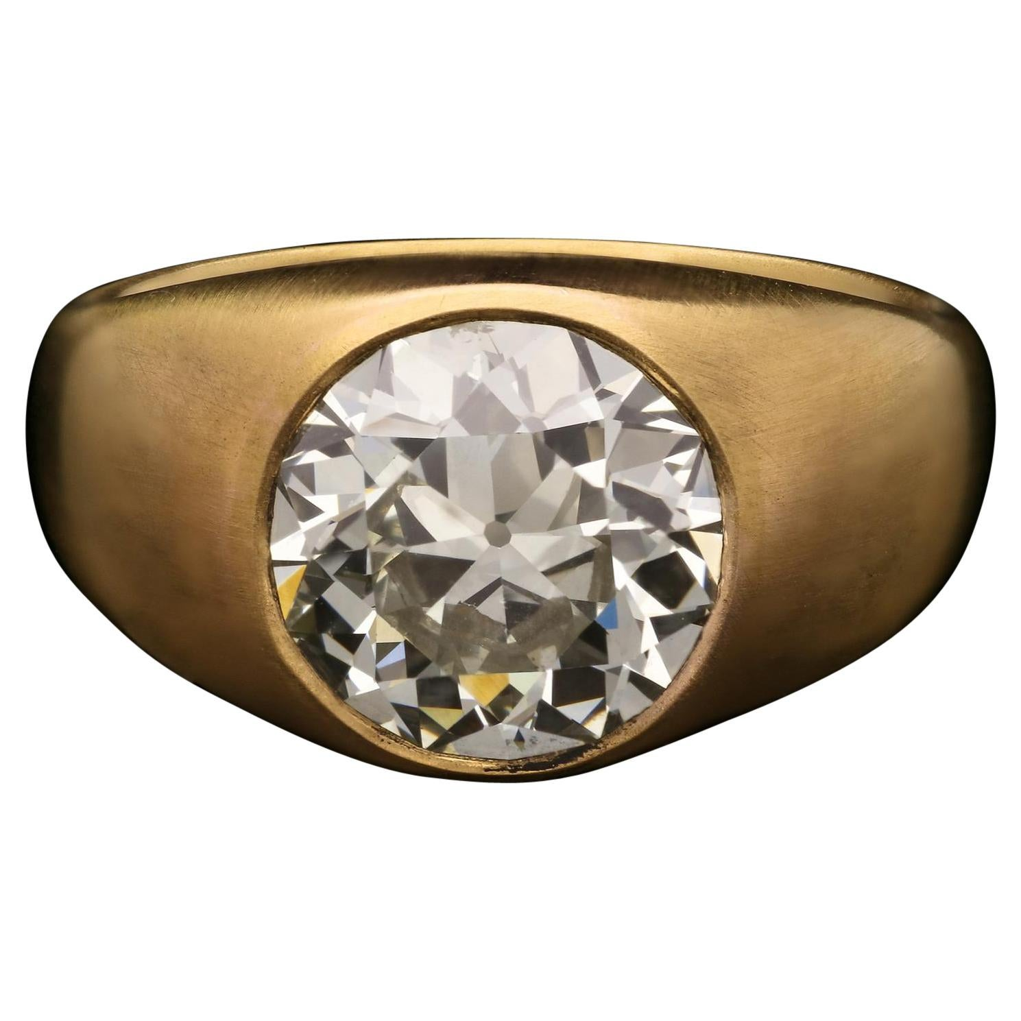 Hancocks 3.61carat Old European Cut Diamond & 22k Gold Gypsy Ring