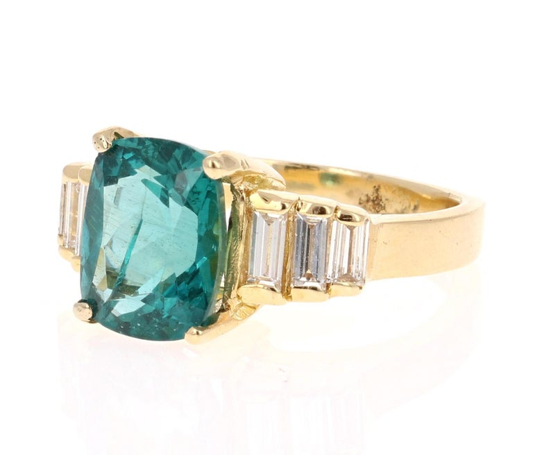 Modern 3.62 Carat Cushion Cut Apatite Diamond 18 Karat Yellow Gold Engagement Ring For Sale