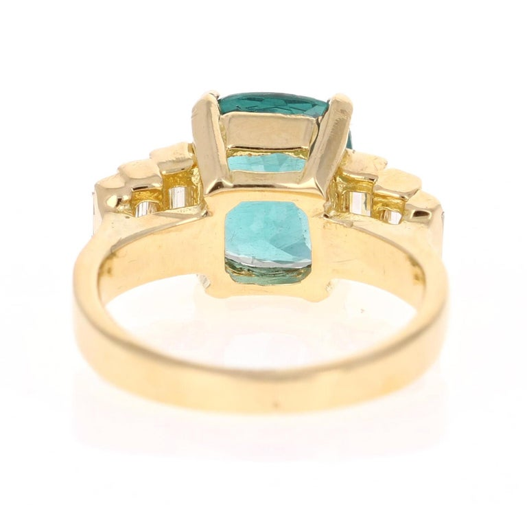 3.62 Carat Cushion Cut Apatite Diamond 18 Karat Yellow Gold Engagement Ring In New Condition For Sale In San Dimas, CA