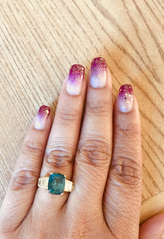 3.62 Carat Cushion Cut Apatite Diamond 18 Karat Yellow Gold Engagement Ring For Sale 1