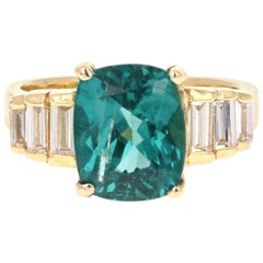 3.62 Carat Cushion Cut Apatite Diamond 18 Karat Yellow Gold Engagement Ring