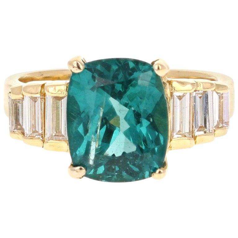 3.62 Carat Cushion Cut Apatite Diamond 18 Karat Yellow Gold Engagement Ring For Sale