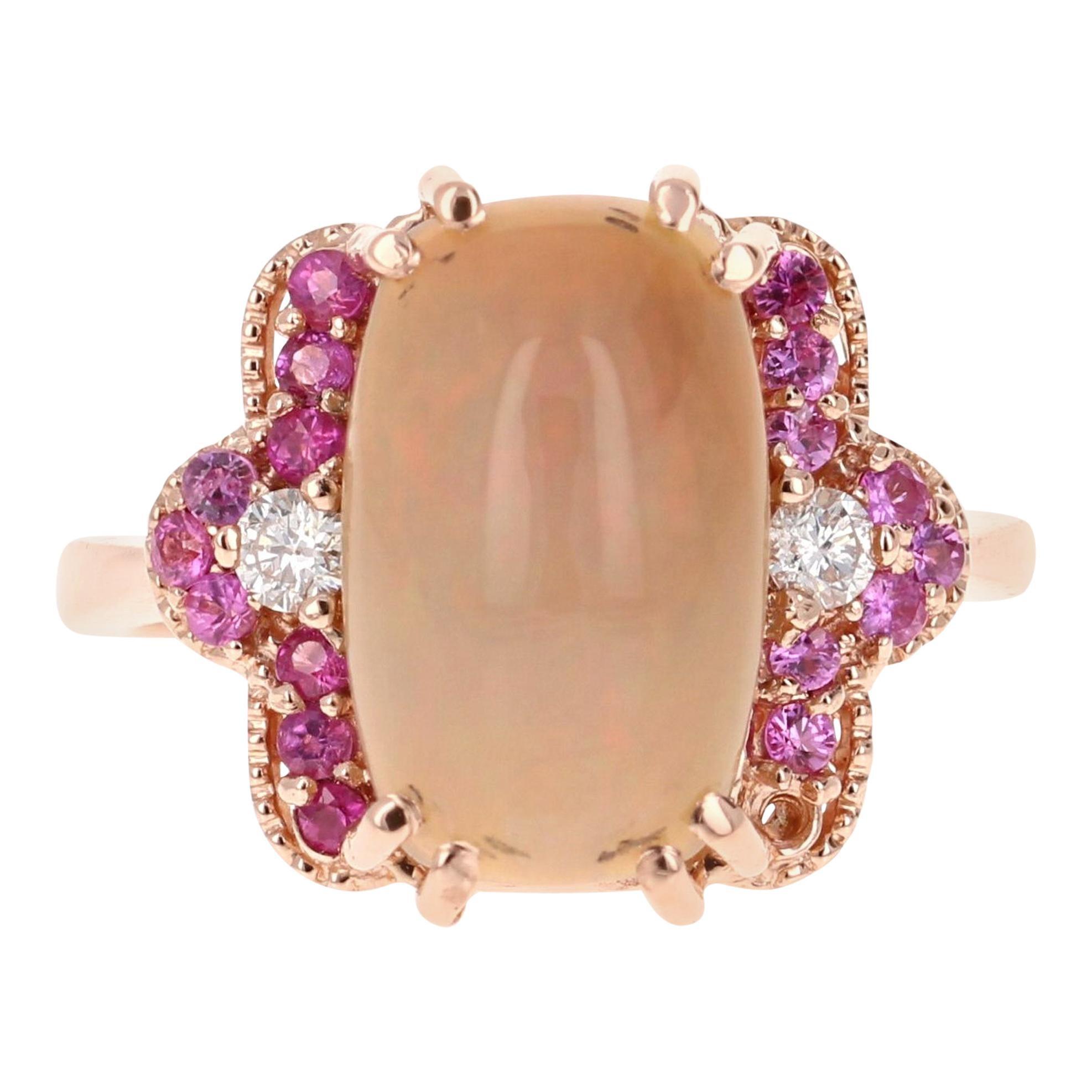 3.62 Carat Opal Diamond 18 Karat Rose Gold Ring
