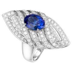 3.62 Carat Oval Blue Tanzanite 18 Karat White Gold Diamond Cocktail Ring