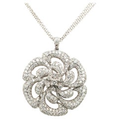 3.62 Carat Pave Diamond White Gold  flower Pendent With Box