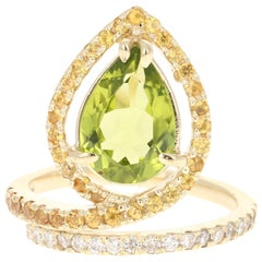 3.62 Carat Peridot Diamond Sapphire 14 Karat Yellow Gold Ring