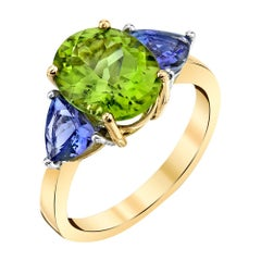 3.62 Carat Peridot & Tanzanite 18k Yellow & White Gold 3-Stone Cocktail Ring