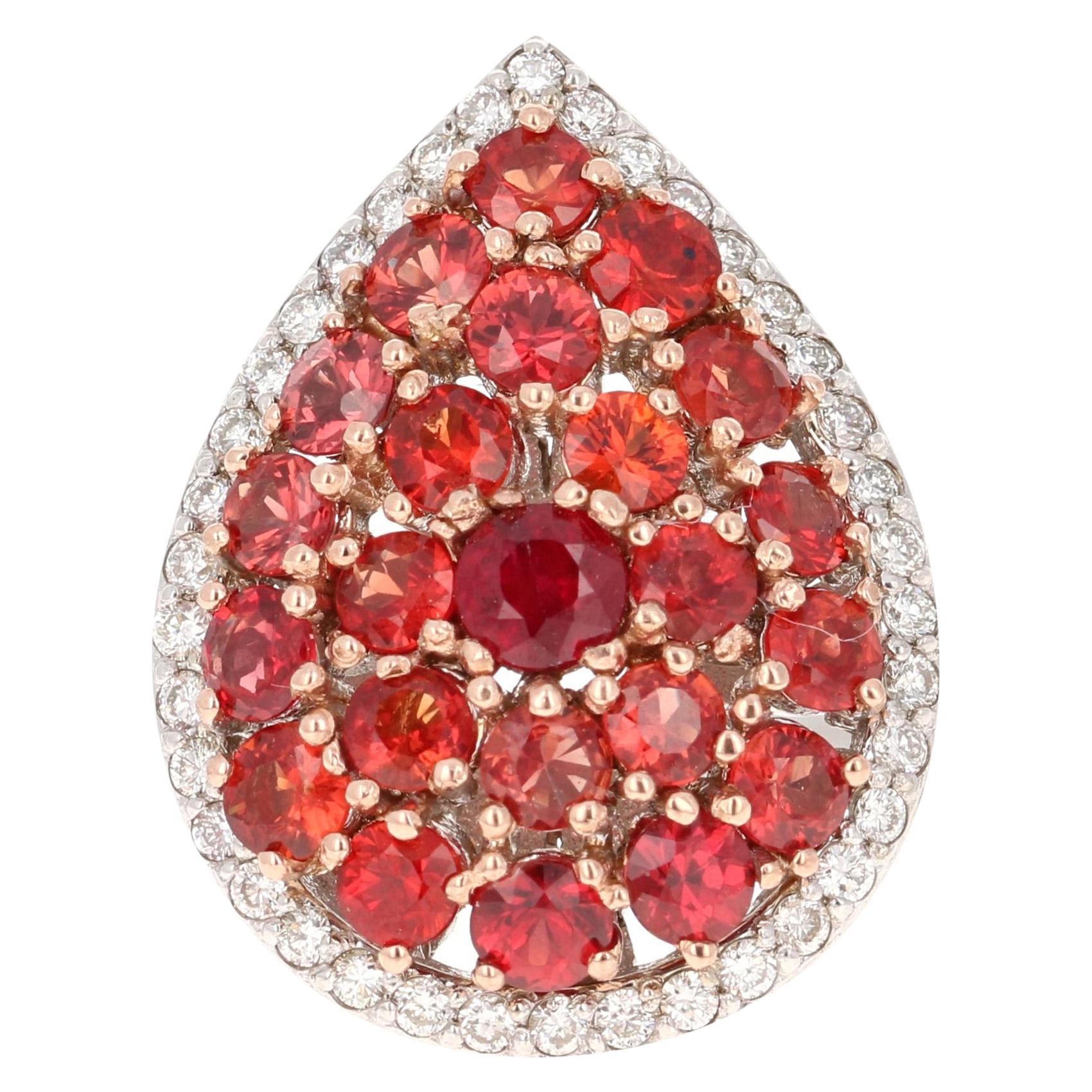 3.62 Carat Red Sapphire Diamond 14 Karat White Gold Cocktail Ring
