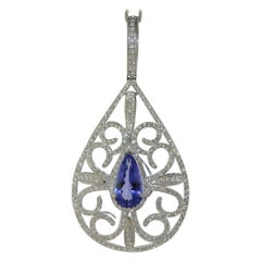 3.62 Carat Tanzanite with 2.26 Carat Diamond in 18 Karat White Gold Pendant