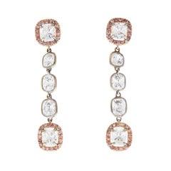 3.62 Carat Total Cushion Cut Diamond Dangle Earrings in 18K Two Tone Gold