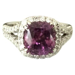3.62 Carat Unheated Natural Pink Purple Sapphire and Diamond Ring GIA Certified