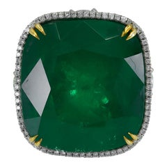 36.29 Carat Colombian Emerald Diamond Cocktail Ring