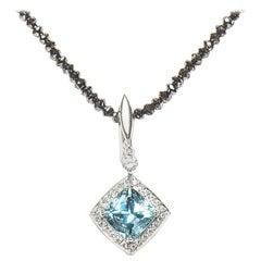 3.63 Carat Aquamarine Diamond 18 Karat White Gold Cluster Pendant Natalie Barney