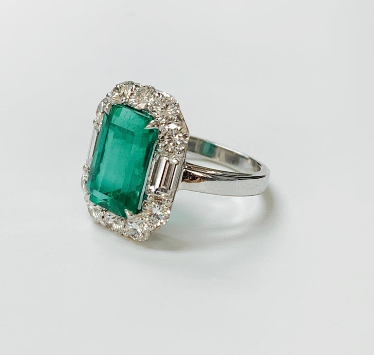 Emerald Cut 3.63 Carat Columbian Emerald and Diamond Ring in 18K White Gold For Sale