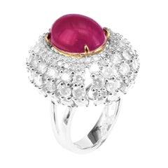 3.63 Carat Fancy White Diamond 5.97 Carat Vivid Red Sugar Loaf Ruby Unique Ring