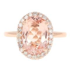 3.63 Carat Morganite Diamond 14 Karat White Rose Cocktail Ring